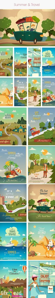 Summer and Travel Vector Stock Illustrations Pack