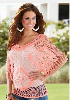 Fringe sleeve crochet sweater from VENUS women's swimwear and sexy clothing. Order Fringe sleeve crochet sweater for women from the online catalog or Hairpin Lace Crochet, Crochet Shirt, Knit Crochet, Crochet Motif, Crochet Edgings, Crochet Tops, Venus Clothing, Moda Crochet, Broomstick Lace