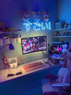 Bedroom Setup, Room Design Bedroom, Room Ideas Bedroom, Girl Bedroom Designs, Cute Room Ideas, Cute Room Decor, Gaming Room Setup, Pc Setup, Cool Gaming Setups