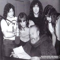 The 'mythic' Orson Welles (director) recording with The Manowar heavy metal band). Hard Rock, Heavy Metal Music, Heavy Metal Bands, Manowar Band, Woodstock, Rock Bands, Christopher Lee, School Of Rock, Orson Welles