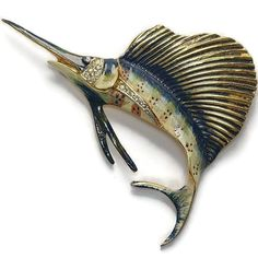 Sterling Craft Coro Enamel Fish Pin Brooch 1940's