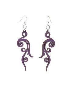 Purple Small Scroll Drop Earrings #zulily #zulilyfinds