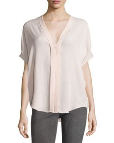 Vince Pleated-Front V-Neck Blouse, New Buff  New offer @@@ Price :$265 Price Sale $199