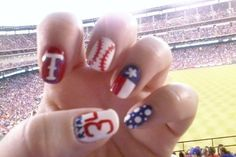 Texas Rangers nail art! AWESOME! Rachel at Blue House Salon in Fort Worth will hook you up!