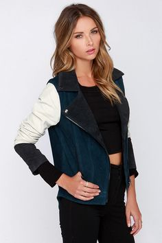 Chaser Fresh Necessity Blue Color Block Suede Jacket