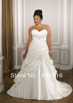 New Exquisite Plus Size A Line Sweetheart Chapel Train Satin Wedding Dresses With Pleated