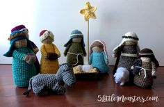 An addition to the Crochet Nativity, Three Wise Men. Each one has a unique headdress and is carrying a gift for Baby Jesus.