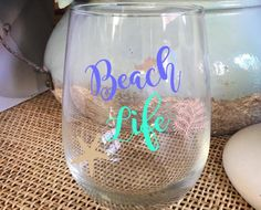 Beach Life Beach Gift Stemless Wine Glass Wine Cup Best Friend Gift Girls Weekend Gift for Beach House Birthday Gift  Personalized by AveryAnnBoutique on Etsy