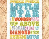 SALE Inspirational Quote Art Print -8X10 - No. Q0061 - Twinkle Twinkle little star how I wonder what you are