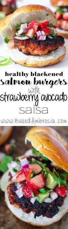 Healthy Blackened Salmon Burgers with Strawberry Avocado Salsa