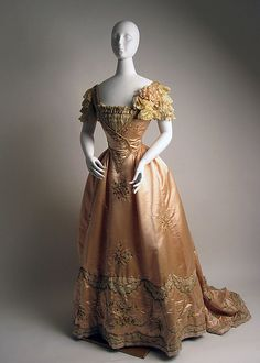 Edwardian silk and leather evening ensemble by Jeanne Hallée [French], c. 1897-98