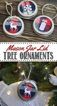 Mason Jar Lid Ornaments | 27 Spectacularly Easy DIY Christmas Tree Ornaments, see more at http://diyready.com/spectacularly-easy-diy-ornaments-for-your-christmas-tree