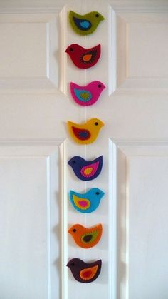 diy felt animals of Colorful birds garland crafts - door decoration, hanger ornaments