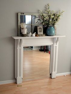 That [Curly-Haired] Girl: DIY Fireplace Mantel Resurfacing Fireplace Cover Up, Faux Fireplace Mantels, Fireplaces, Bedroom Fireplace, Living Room With Fireplace, Living Rooms, Home Suites, Rustic Mantel, Living Room Decor Inspiration