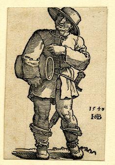 1546 Sebald Beham -   A peasant; whole-length figure, frontal view, holding a jar under his right arm. Proof-sheet for an illustration to Sebald Beham, 'Das Kunst und Lerbüchlein', Frankfurt: Chr. Egenolph, 1546. Woodcut