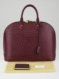 This head-turning Ostrich Leather Alma GM is made for anyone with impeccable taste. With its classic shape and roomy interior, this timeless piece is feminine and stylish all-in-one. This stunning Alma is crafted out of Prune pearled ostrich skin for an exotic look that is sure to turn heads! Originally referred to as the Alma MM, this Alma GM is the largest size in the Alma family. Retail price is $12300.