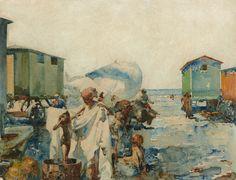 José Navarro Llorens | Valencia, 1867 - Valencia, 1927 | Baño en la playa junto a los carromatos - c. 1915