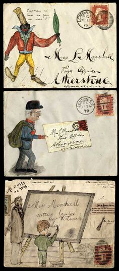 1878-79 hand illustrated envelopes