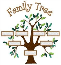 Concord Collections Embroidery Design: Family Tree 3.91 inches H x 3.72 inches W