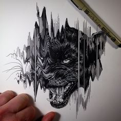 """Panther"" by Paul Jackson. Sketch pen, 2015"