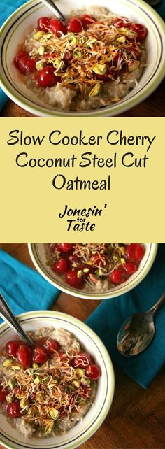 Slow Cooker Cherry Coconut Steel Cut Oatmeal is an easy overnight oatmeal breakfast dish topped with cherry pie filling or homemade cherry sauce, toasted coconut, and pistachios. Crock Pot Slow Cooker, Slow Cooker Recipes, Crockpot Recipes, Top Recipes, Easy Recipes, Steel Cut Oatmeal, Overnight Breakfast, Overnight Oatmeal, Delicious Breakfast Recipes