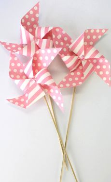 Pink polka dot pinwheels
