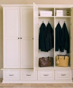 locker idea - I like the doors, drawers and shelf. thinking ours could be deeper?
