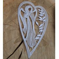 Lace Heart, Lace Jewelry, Bobbin Lace, Madonna, Lace Detail, Butterfly, Advent, Embroidery, Holiday Ornaments
