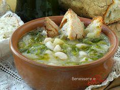 Fagioli e scarole, ricetta della tradizione campana, una zuppa ricca di sapore con poche calorie, ricetta facile e veloce, ricetta vegetariana, dieta vegan