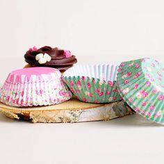 Envoltorios para cupcakes flores silvestres rosa-verde