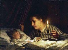 Junge Mutter, bei Kerzenlicht ihr schlafendes Kind betrachtend (Young Mother Contemplating Her Sleeping Child By Candlelight)