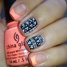 Cute pink n black Tribal Nails, Chevron Nails, Tribal Art, Colorful Nails, Colorful Nail Designs, Nail Art Designs, Get Nails, How To Do Nails, Hair And Nails