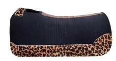 5 Star Equine 100% Virgin Wool Black Saddle Pad with Custom Full Length Jaguar Wear Leathers www.5StarEquineProducts.com