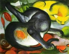 Two Cats ~ Franz Marc, 1880-1916, German Expressionist.