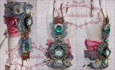 Emerald butterfly watch cuff by Pinkabsinthe.deviantart.com on @DeviantArt