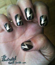 Love the bolts! Cute Nails, Pretty Nails, Just Miniatures, Fingernails Painted, Makeup At Home, Nail Tips, Nail Ideas, Nailart, Top Nail