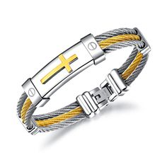 Wire Rope Cross Bangles For Men Three Layers Stainless Steel Gold Color Male Charm Cable Bracelet Gift Sea Glass Jewelry, Copper Jewelry, Sterling Silver Jewelry, Best Jewelry Stores, Jewelry Shop, Jewelry Gifts, Unique Jewelry, Bracelets For Men, Bangle Bracelets