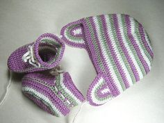 hat and booties for babies, newborn to 6 months, in cream and hushed tones of violet-pink and green Crochet Boots, Handmade Art, Craft Gifts, Pink And Green, Hand Knitting, Baby Gifts, Knitted Hats, Choose Happiness, Colour Combinations