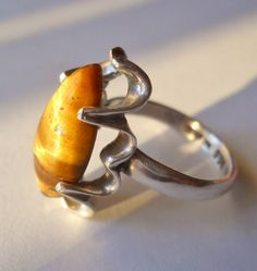 Tiger Eye Ring Sterling Silver Mexico Vintage by RenaissanceFair