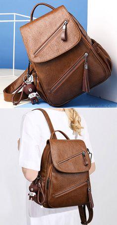 Retro Double Oblique Zipper PU Campus British Style Tassel School Backpack for big sale! #backpack #Bag #retro #Pu #backpack #Bag #rucksack #college #student #school #retro