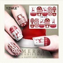 YZWLE 1 Feuille De Noël Conception DIY Stickers Ongles Art Impression de Transfert de L'eau Autocollants Accessoires Pour Manucure Salon (YZW-2129)(China (Mainland))