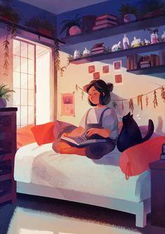 Enjoying a Good Book - art by Sium