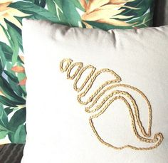 Coastal decor seashell pillow of raffia for your beach house