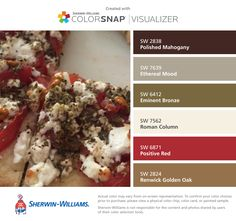 Greek pizza colors I found these colors with ColorSnap® Visualizer for iPhone by Sherwin-Williams: Polished Mahogany (SW Ethereal Mood (SW Eminent Bronze (SW Roman Column (SW Positive Red (SW Renwick Golden Oak (SW Paint Color App, Color Combinations, Color Schemes, Greek Pizza, Matching Paint Colors, Roman Columns, Golden Oak, Exterior House Colors, Vintage Holiday