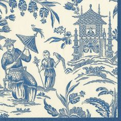 Caspari Silk Road Toile blue white Asian Theme Printed 3-Ply Paper Cocktail Napkins Wholesale 12470C