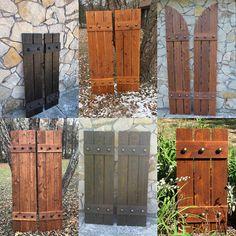 Stained cedar shutters exterior shutters Board and Batten Window Shutters Exterior, Outdoor Shutters, Farmhouse Shutters, Cedar Shutters, Rustic Shutters, Diy Shutters, Homemade Shutters, Outside Shutters, Painting Shutters