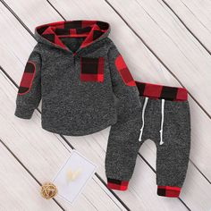 Check out my new Stylish Plaid Design Long-sleeve Hooded Top and Pants Set for Baby , snagged at a crazy discounted price with the PatPat app.US Kids Baby Boy Girl Hooded Sweater+Pants Toddler Outfits Set Clothes TracksuitVelvet-Newborn-Baby-Boys-Ho Baby Outfits Newborn, Toddler Outfits, Baby Boy Outfits, Newborn Clothes Unisex, Baby Boy Fashion, Fashion Kids, Fashion Clothes, Fashion Tights, Fashion Shoes