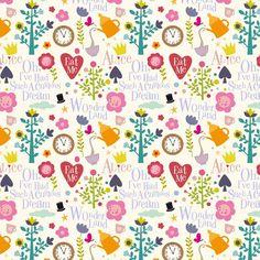 Tissu Alice Blanc par Mini labo 47/50 cm x140 cm - Tissus personnalisés/Mini labo - Motif Personnel