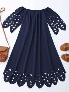 Off The Shoulder Flared Dress - PURPLISH BLUE XL