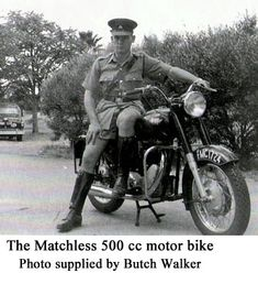 Matchless 500 Motor Bike Photo Supplies, Bike Photo, Great British, Police Officer, Military Vehicles, Motorbikes, Childhood Memories, South Africa, Empire